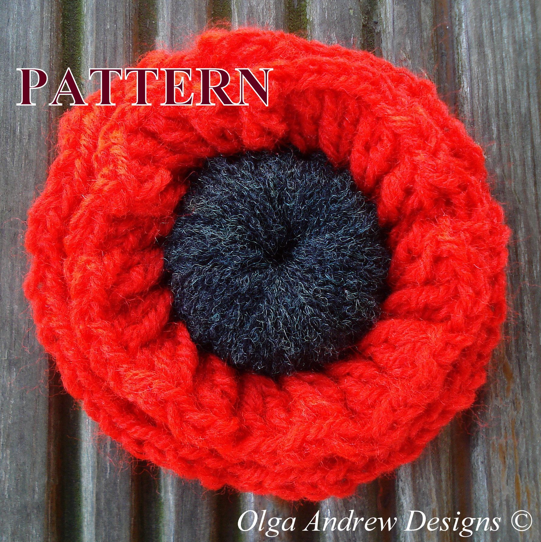 Two-layered poppy flower. Easy crochet tutorial pattern instant ...