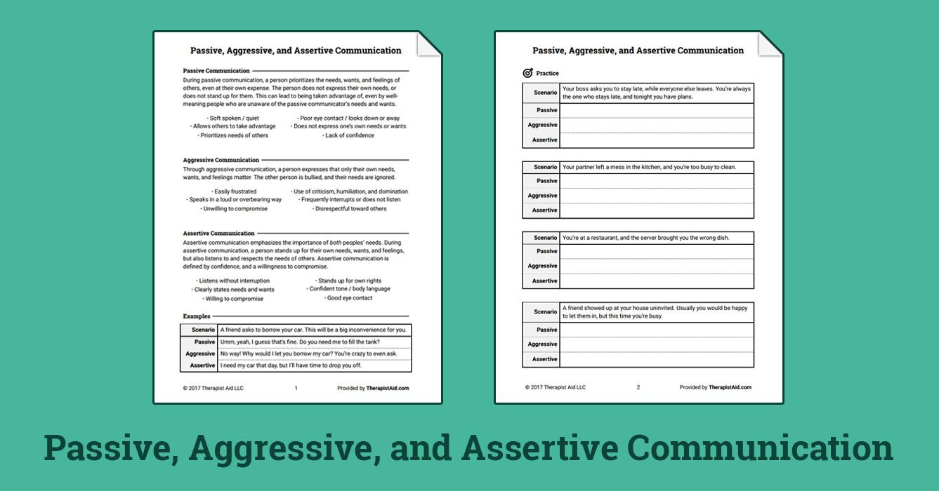 passive, aggressive, and assertive communication (worksheet | growth