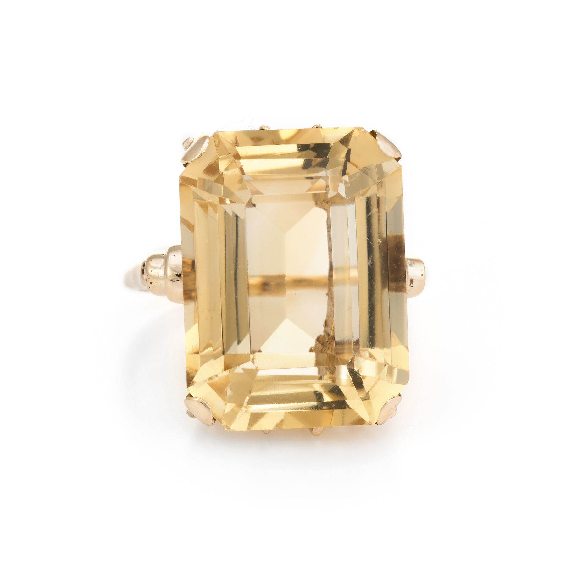 8f6f0c7e0e5f2 Vintage Citrine Cocktail Ring 9 Karat Yellow Gold Large Emerald Cut ...