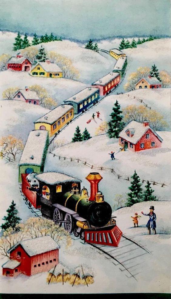 Santa falls off the train Vintage Christmas Card Retro Santa - copy lionel trains coloring pages