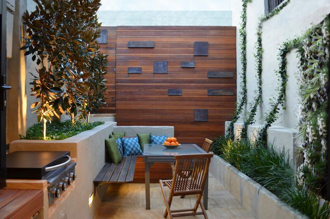 From Houzz Small Space Patio Contemporary Patio By Outhouse Design Built In Planters Feature Wal Courtyard Design Outdoor Patio Designs Contemporary Patio