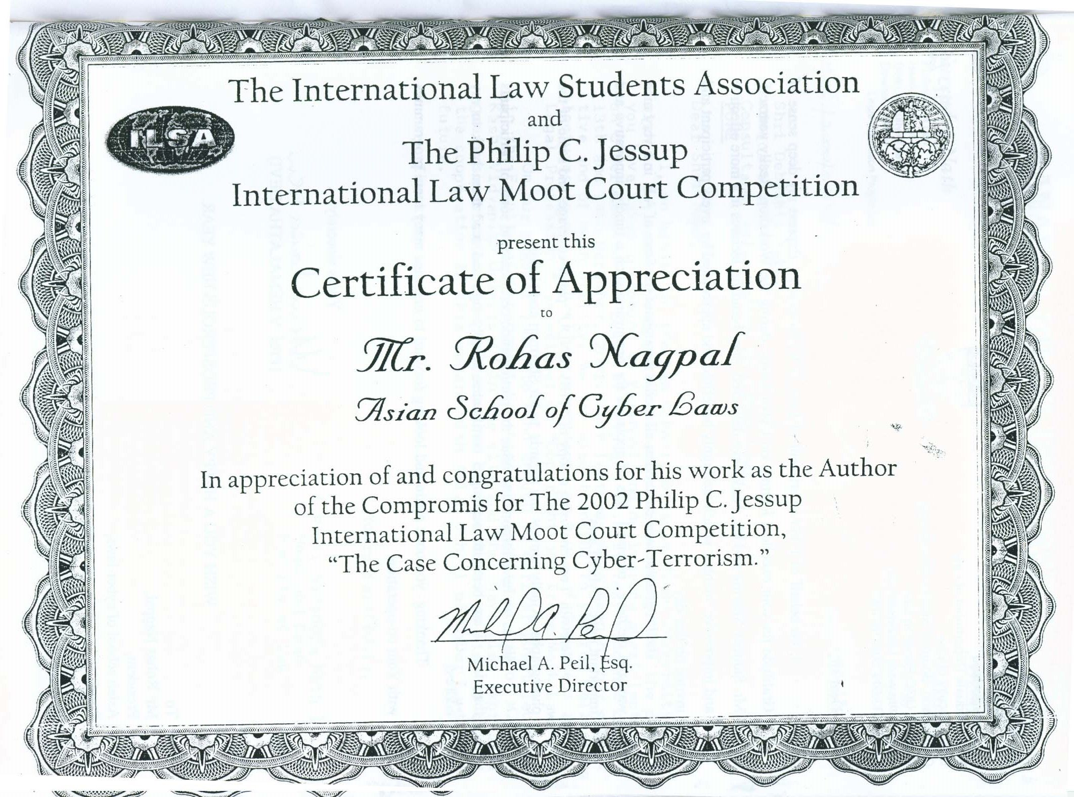 Certificate of appreciation from the philip c jessup certificate of appreciation from the philip c jessup international law moot court competition for authoring yadclub Gallery