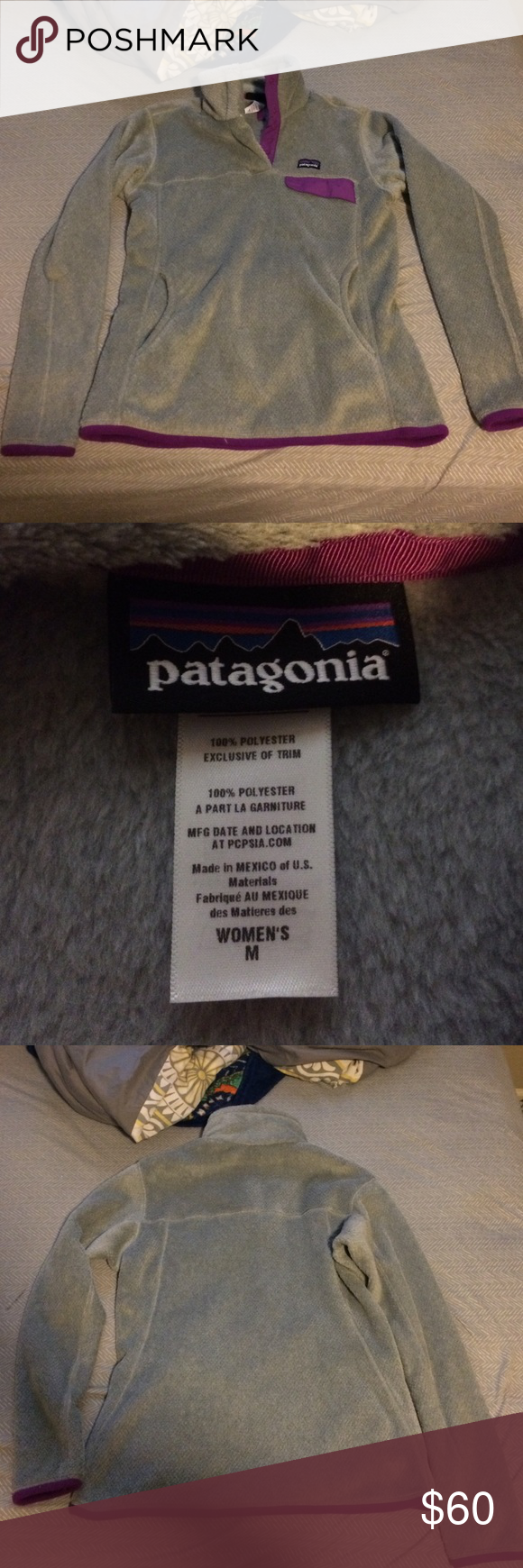 Women's Medium Patagonia Fleece Pullover grey with purple trim on bottom, inside collar, and pocket Patagonia Jackets & Coats