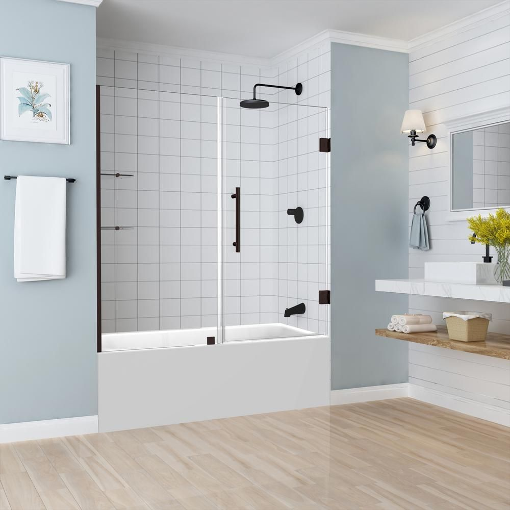 Aston Belmore Gs 59 25 In To 60 25 In X 60 In Frameless Hinged Tub Door With Glass Shelves In Bronze Bathtub Doors Frameless Shower Doors Shower Doors