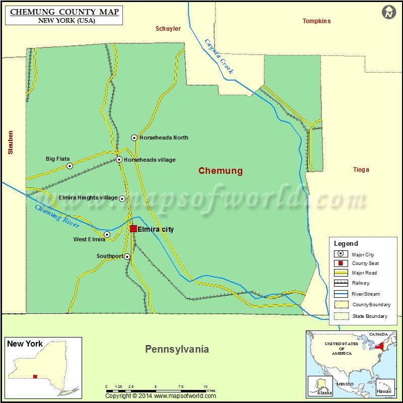 Chemung County Map For Free Download Printable Map Of Chemung