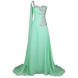 Endofjune One Shoulder Long Bridesmaid Dress with Train Chiffon Prom Gown Beading