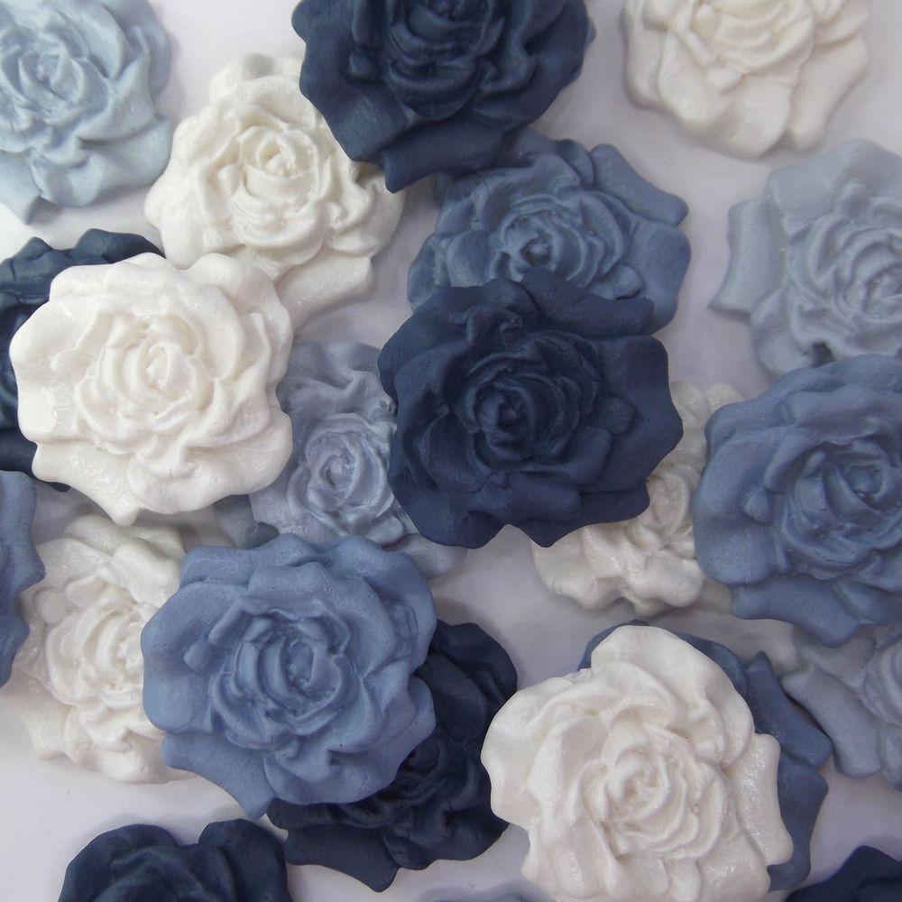 12 Blue Mix White Sugar Roses Edible Sugarpaste Flowers Wedding Cake