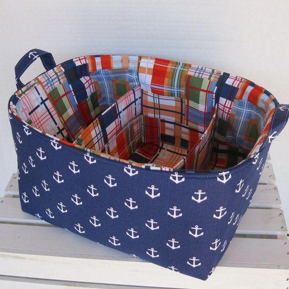Diaper Caddy - Fabric Organizer Storage Bin Basket - with Separators/ Dividers - Nautical Anchors & Diaper Caddy - Fabric Organizer Storage Bin Basket - with Separators ...