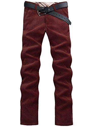 Man Straight Leg Zip Fly Leisure Corduroy Pants Burgundy W32