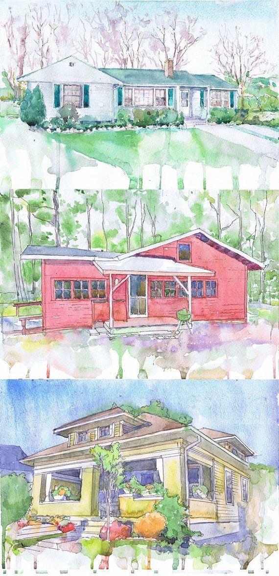 Custom Home Portrait House Warming Gift Original Watercolor Valrart