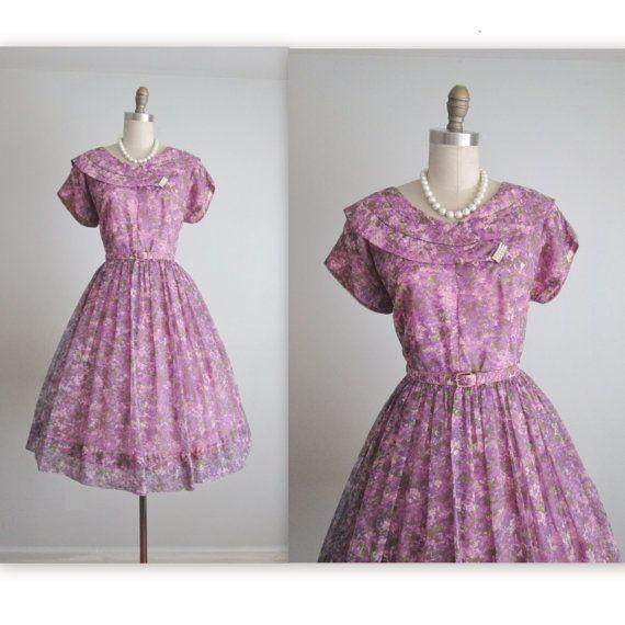 50's Chiffon Dress // Vintage 1950's Purple Floral Print Chiffon Garden Party Cocktail Dress