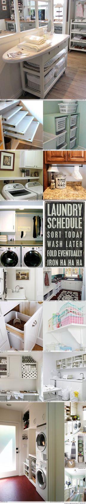 Laundry room ideas: tabla de planchar y armario con ropa sucia