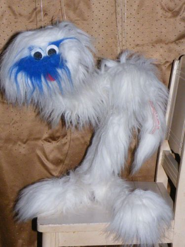 vintage great american fun co fuzzy white blue face monster puppet