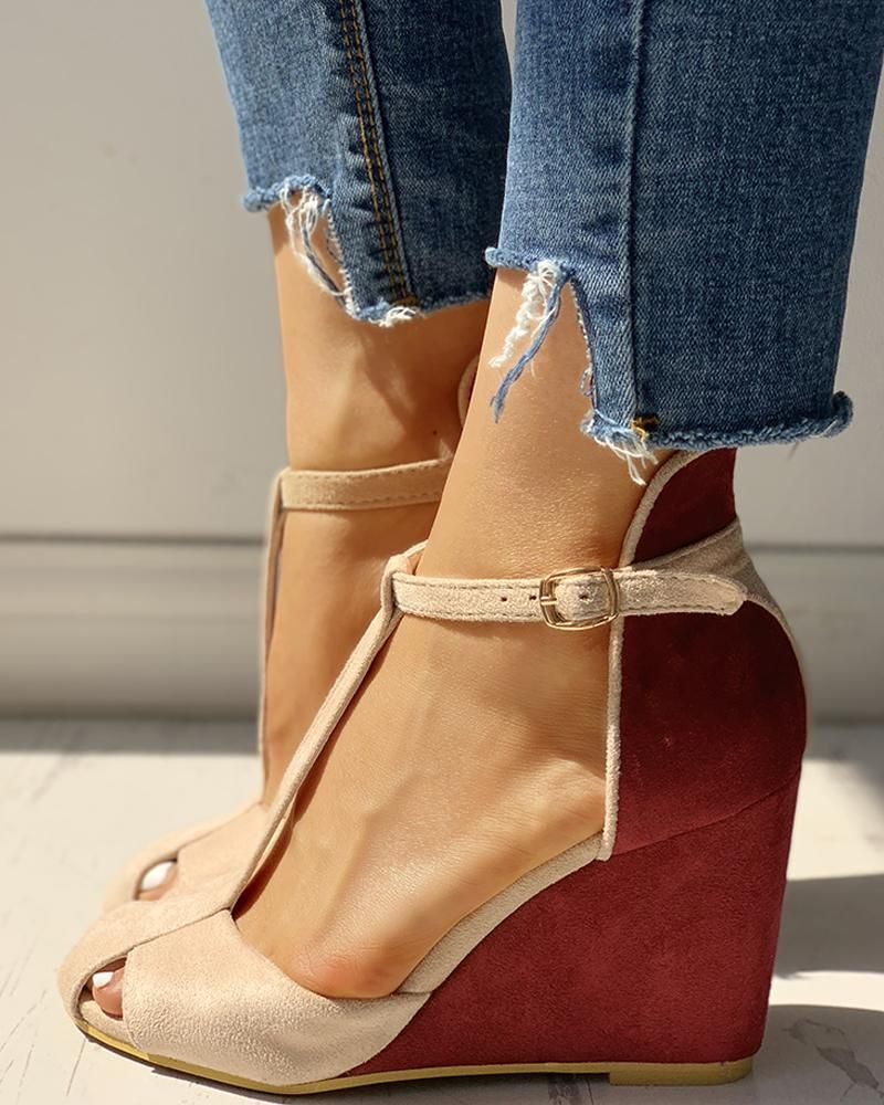 Suede Colorblock Cutout Wedge Shoes Wedge Shoes Heels Patterns Womens Shoes Wedges