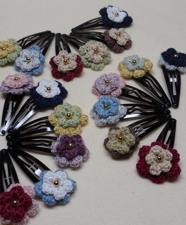 ぷっくりお花のヘアピンの作り方 その他 編み物 手芸 ソーイング