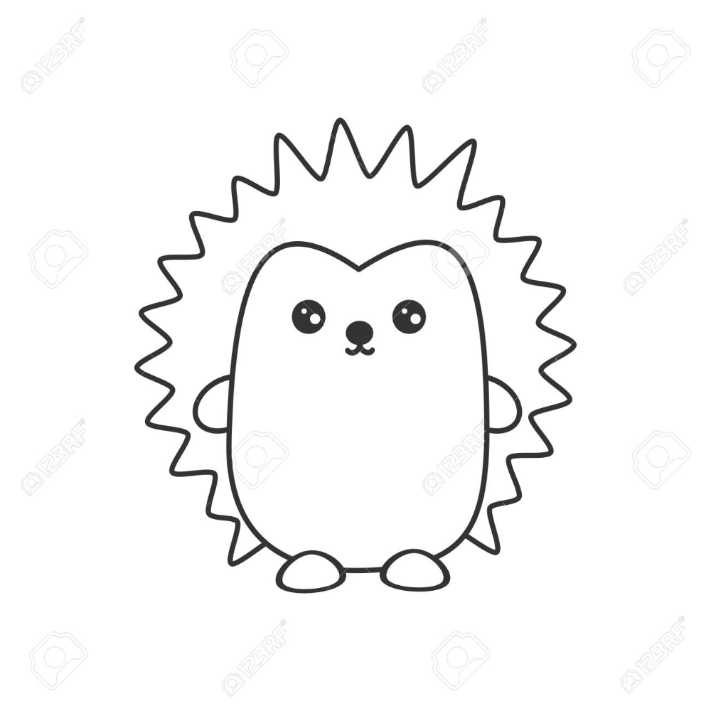 Cute Cartoon Black And White Hedgehog Vector Illustration For Coloring Art Stock Vector 120435260 Colorful Art Vector Illustration Cute Cartoon