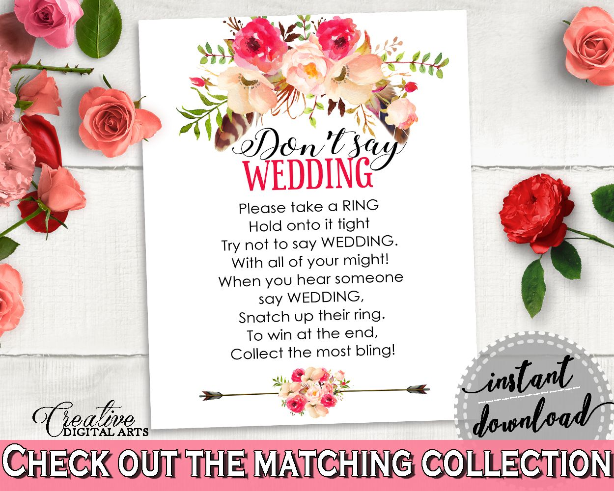 Pink And Red Bohemian Flowers Bridal Shower Theme: Don\'t Say Wedding ...