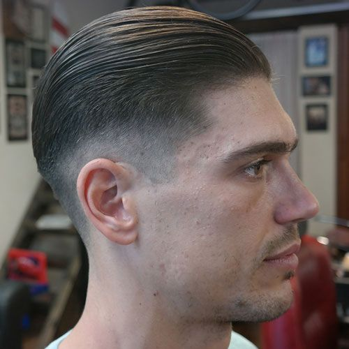 Great Long Slick Back Hair +Taper Fade