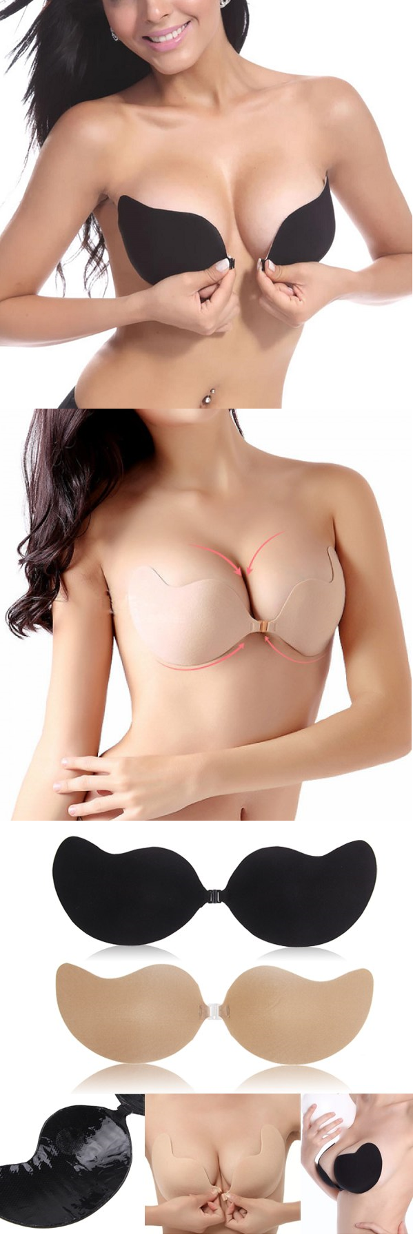 Sexy Sticky Front Closure Strapless Invisible Silicone Gather V Bra Ear Wing Seamless Silikon Sillicon Push Up Wedding Dresses Bras