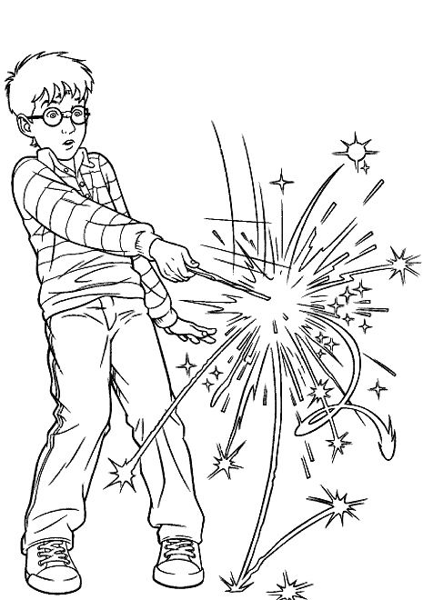 Harry Using Magic Wand Coloring Pages Harry Potter Coloring