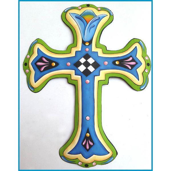 Cross Wall Art Decor - Painted Metal Christian Cross, Decorative ...