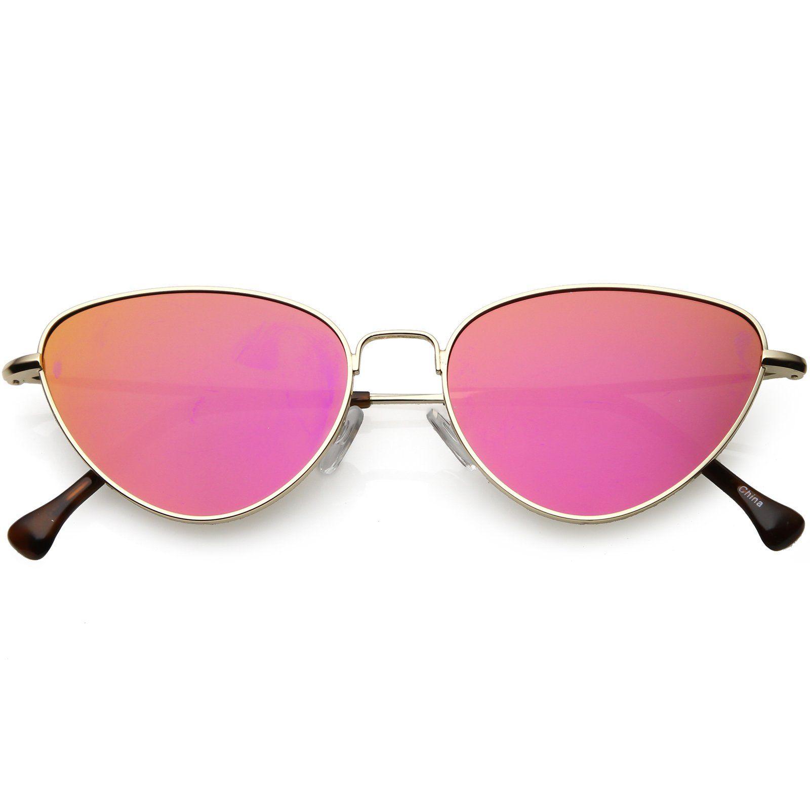 3d7ddde44b8 Women s Slim Metal Cat Eye Sunglasses Colored Mirror Flat Lens 54mm