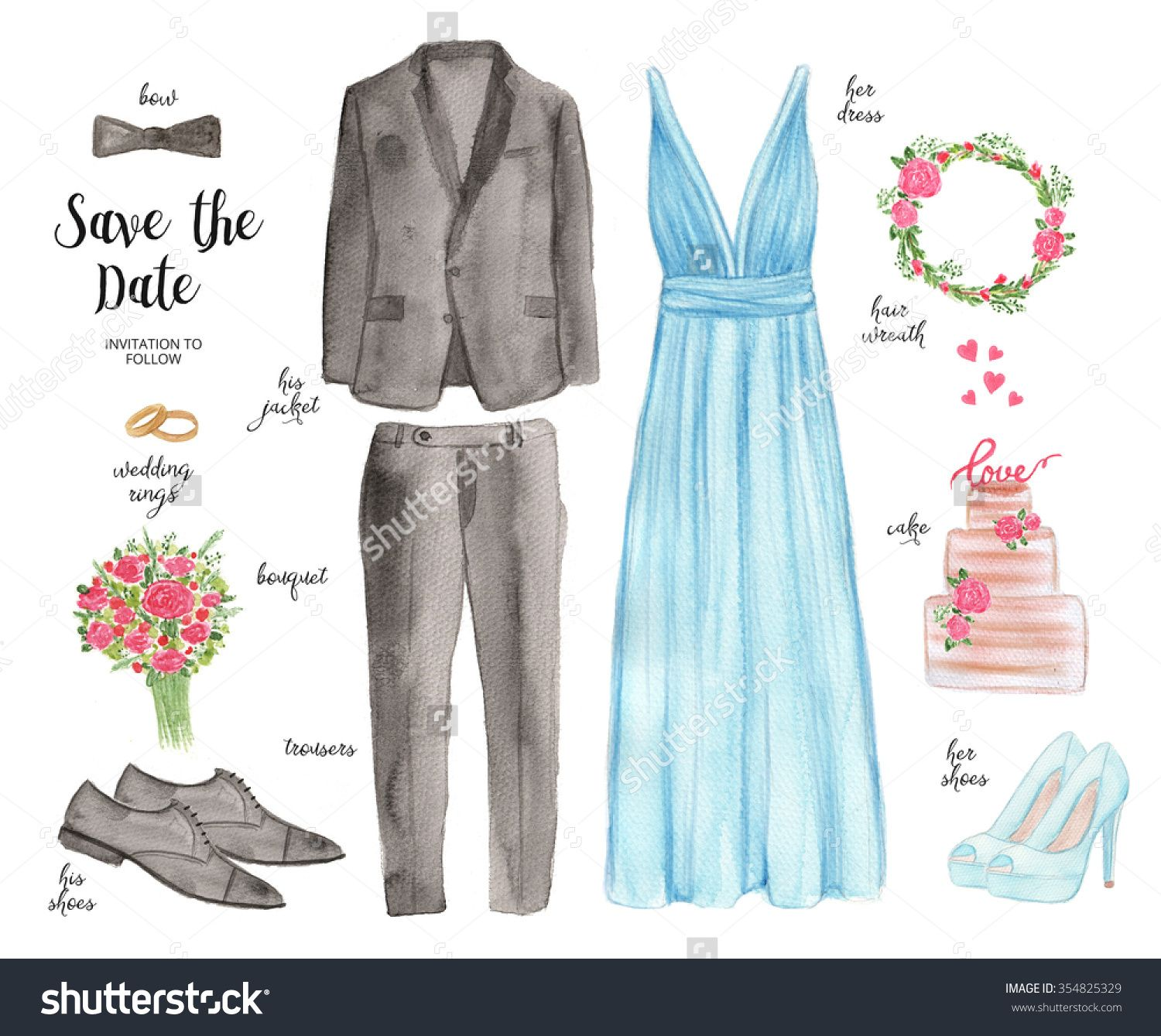 Hand Drawn Wedding Outfit. Watercolor Set of Wedding Elements ...