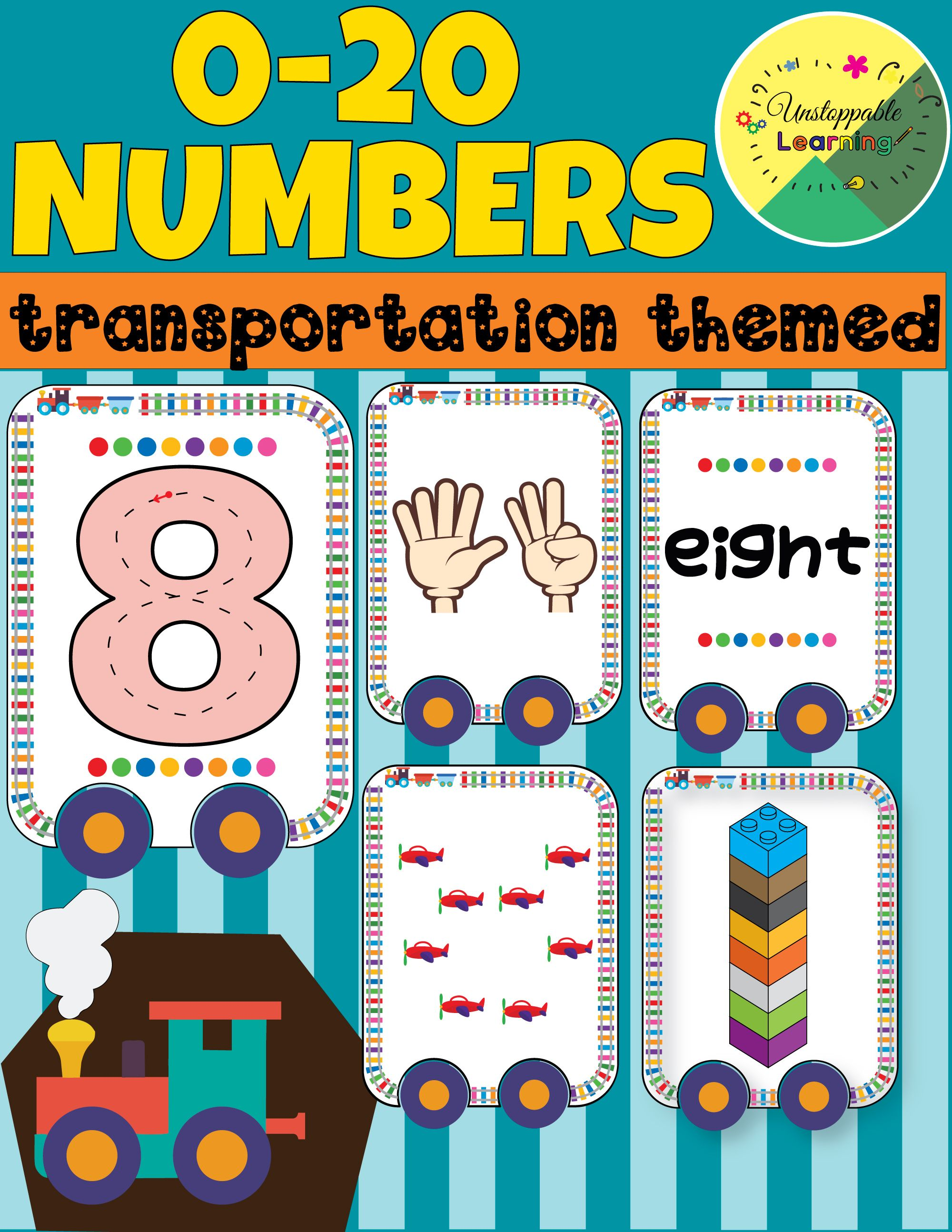 Numbers 1 20 Cards Math Center Transportation Theme