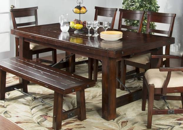 Sunny Designs Vineyard Medium Brown Extension Table Extension Table Handcrafted Table Mahogany Wood