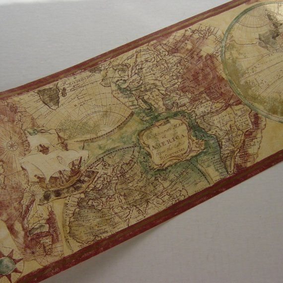 Old world expedition style map wallpaper border norwall pinterest old world expedition style map wallpaper border norwall perfect to bring color into opposite wall of beige map hallway gumiabroncs Gallery