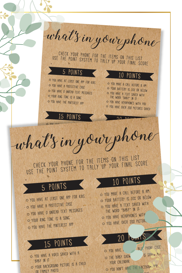 What's In Your Phone Baby Shower Game  Whats In Your Phone  Whats In