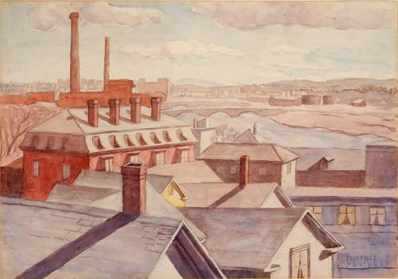 """Roofs of Cambridge,"" Fairfield Porter, 1927, watercolor on cardboard, 13 7/8 x 20"",  Parrish Art Museum."