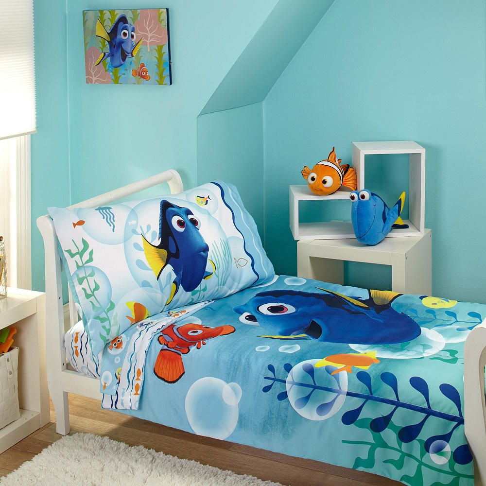 Disney Pixar Finding Dory Bubbles 4 Piece Toddler Bed Set