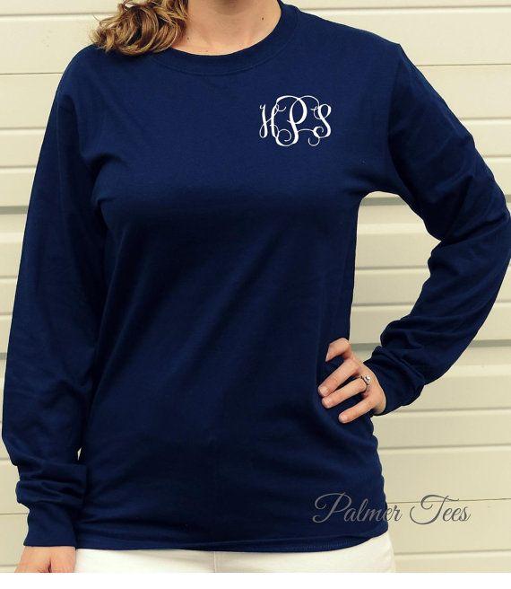 Monogrammed Long Sleeve Unisex T-Shirt - Hanes Tagless Tee 5586