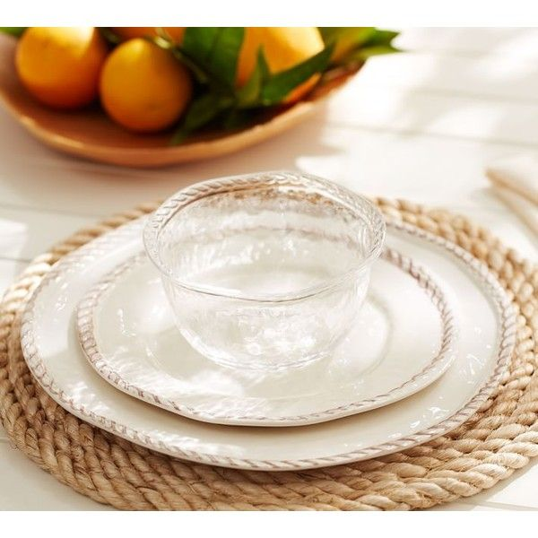 Pottery Barn Rope Outdoor Dinnerware White ($20) ? liked on Polyvore featuring home kitchen u0026 dining dinnerware pottery barn outdoor dinner plates ... & Pottery Barn Rope Outdoor Dinnerware White ($20) ? liked on ...