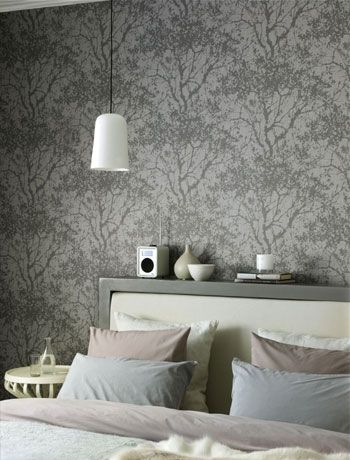 Shades of grey tree print wallpaper master bedroom for Grey feature wallpaper bedroom
