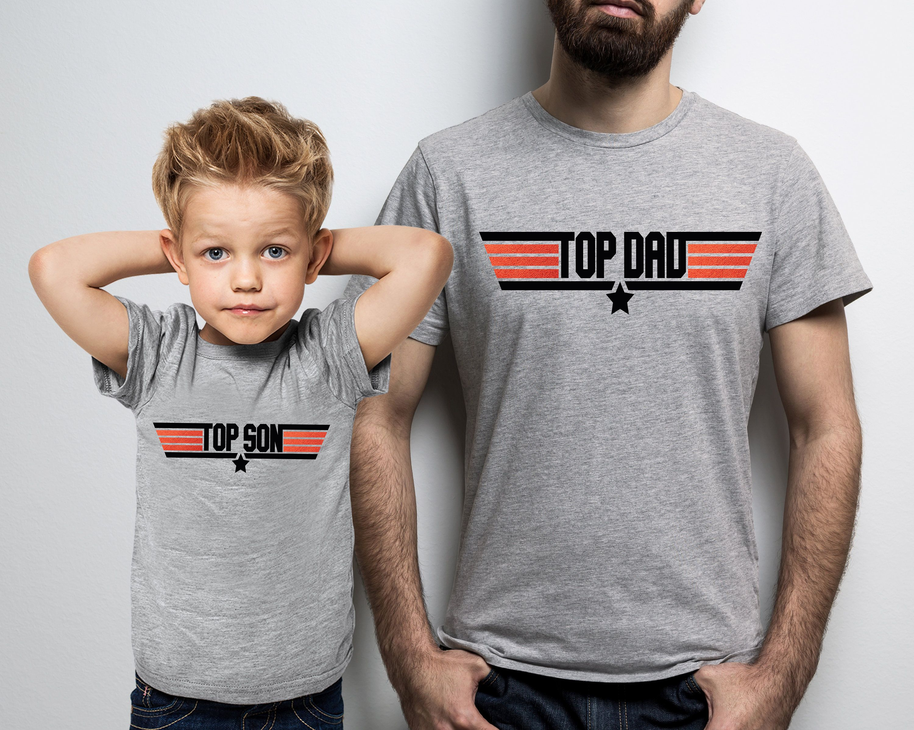 Top Dad and Top Son sport grey t-shirts set Father/'s day gift.