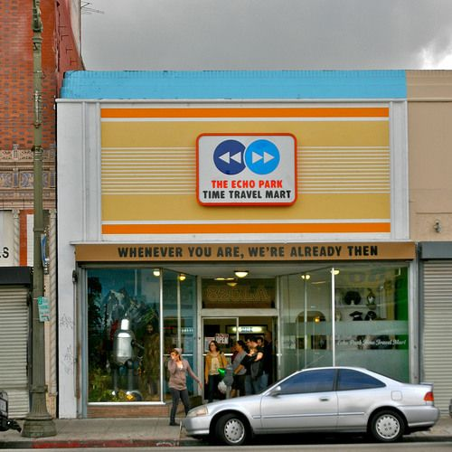 Non-profit time travel mart sells goods you would need for a trip through the fourth dimension