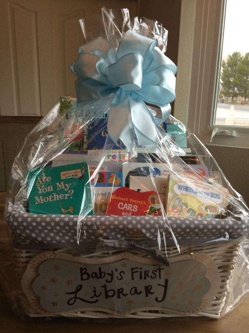 Babys first library baby shower baskets baby boy gift