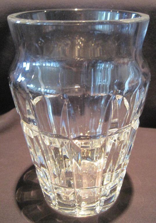 Baccarat Clear Cut Crystal Vase Block Sides Nadine Pattern