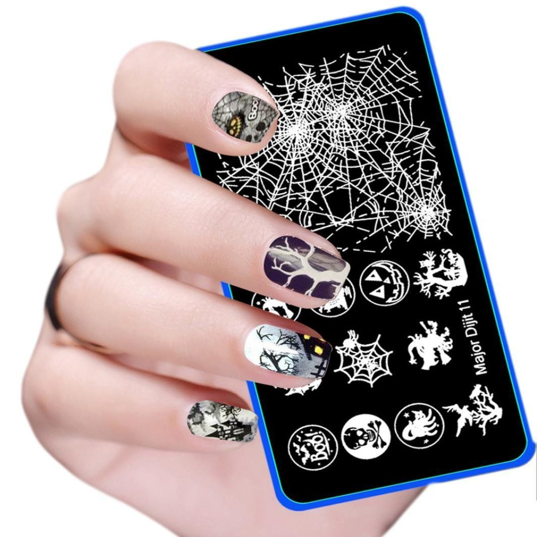 Leoy diy nail art template for halloween party quickly view