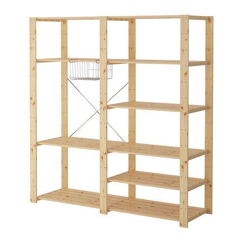 hejne 2 section shelving unit softwood storage shelves and shelving. Black Bedroom Furniture Sets. Home Design Ideas