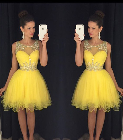 2019 Yellow Short Cocktail Dresses Crystals Beaded Homecoming Dresses from MychicDress