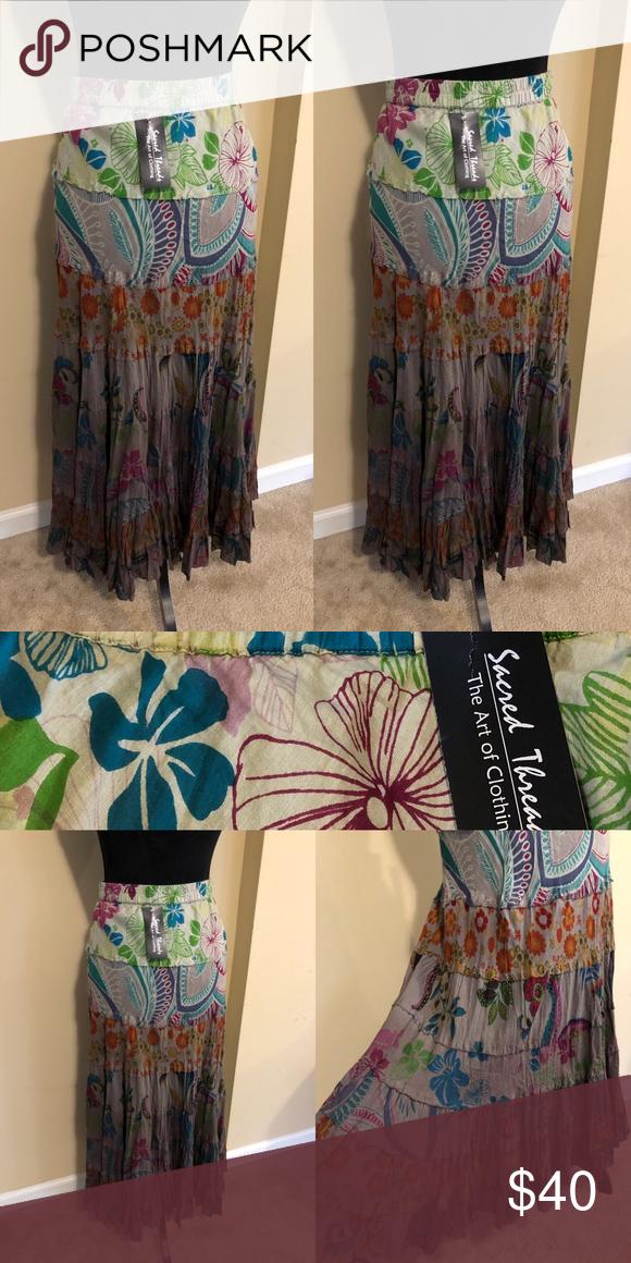 """d3572c6163 NWT Sacred Threads Bohemian Maxi Skirt SZ M (A409) Gorgeous Bohemian Maxi  Shirt SZ M! Elastic waist! Length 36 1/2"""" Sacred Threads Skirts Maxi"""