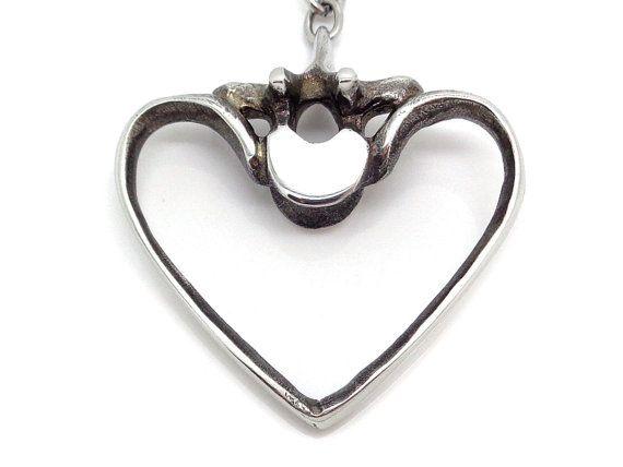 Human Ribs and Vertebra Heart Necklace, Anatomical Jewelry Heart Charm