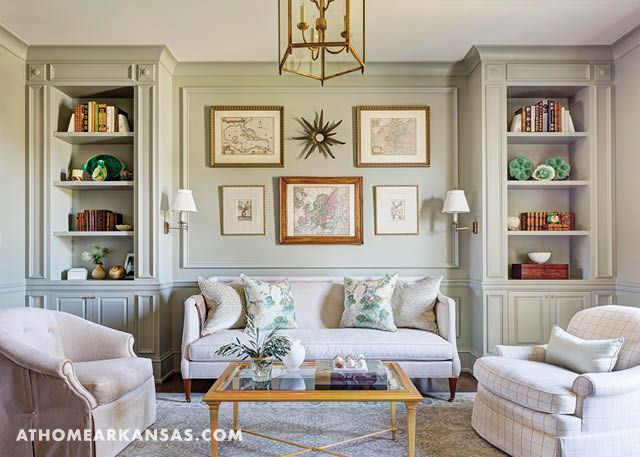 Designer Melissa Haynes helps a Fayetteville couple create a comfortable, new-construction home where they can relax with their grandchildren and make memories   A Grand New Home   At Home in Arkansas   January/February 2017   Haynes used a palette of earthy tans and beiges to create a backdrop for the blue and green art, accessories, and furnishings seen throughout the home.