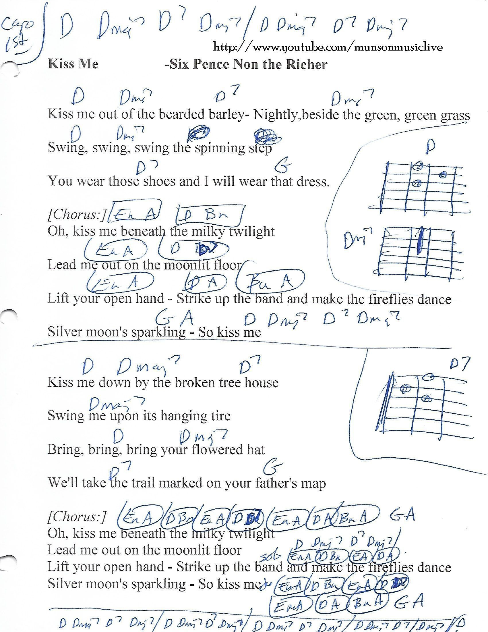 Kiss Me Sixpence None The Richer Guitar Chord Chart Guitar