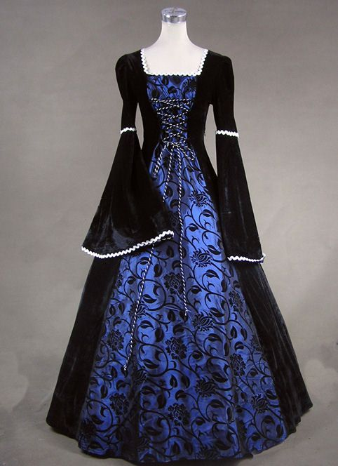 renaissance handmade dress /& chemise BLUE many sizes theater quaility