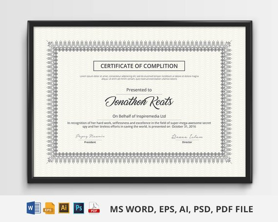 certificate design for multipurpose uses stationary template in ms