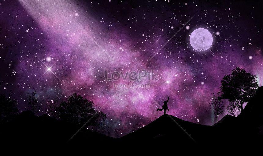 مليء بالنجوم قمر خلفية جميلة Beautiful Backgrounds Sky Moon Image